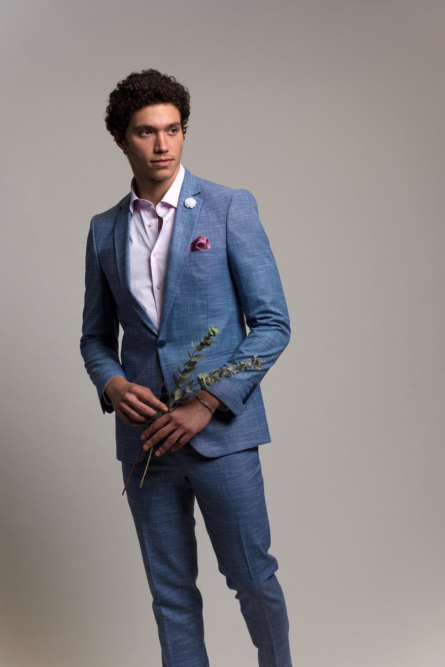 חליפת חתן כחולה פשתן